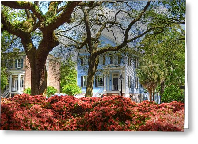 Historic Home Greeting Cards - Springtime in Savannah Greeting Card by Linda Covino