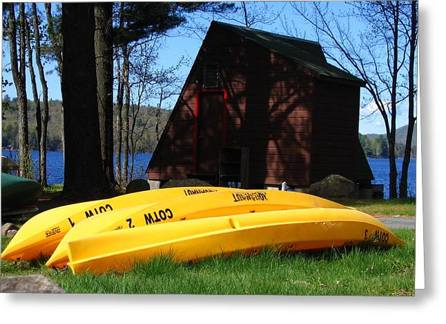 Yellow Canoe Greeting Cards - Springtime in Speculator Greeting Card by Denise Keegan Frawley