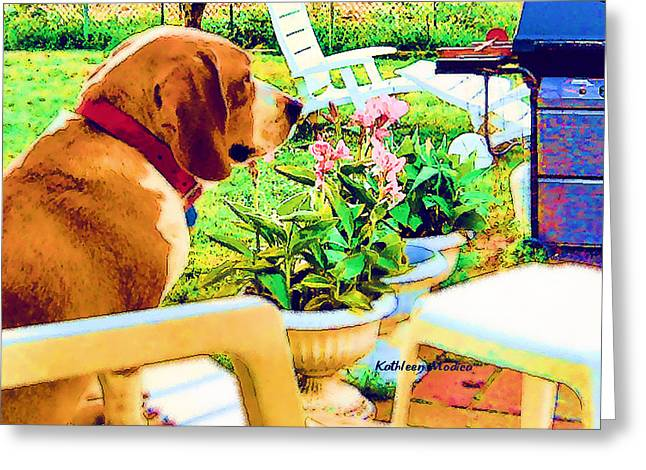 Beagle Puppies Print Greeting Cards - Springtime Greeting Card by KLM Kathel