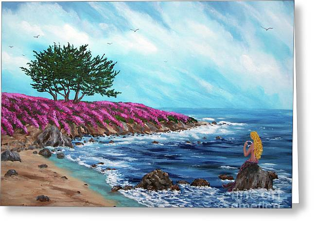 Pacific Grove Greeting Cards - Springtime Mermaid Greeting Card by Laura Iverson