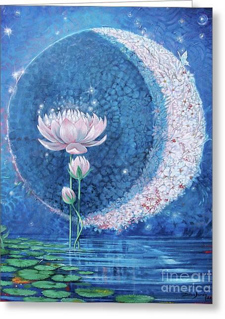 Crown Chakra Greeting Cards - Springtime Moon Greeting Card by Silvia  Duran
