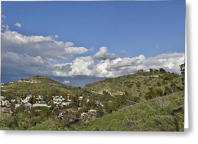 Blue And Green Greeting Cards - Springtime over the Orange County Hills Greeting Card by Linda Brody