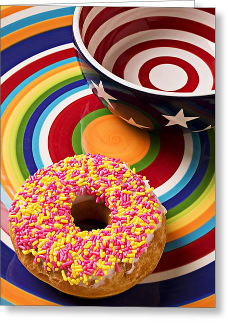 Bun Photographs Greeting Cards - Sprinkled donut on circle plate with bowl Greeting Card by Garry Gay
