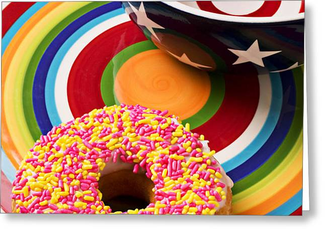 Sprinkled donut on circle plate with bowl Greeting Card by Garry Gay