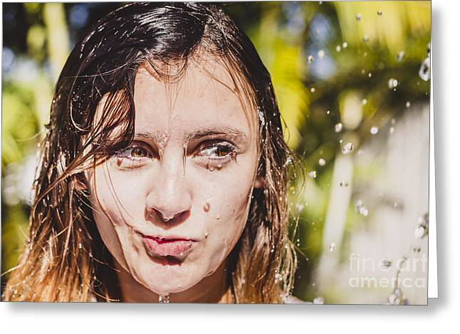 Sprinkler Fun Greeting Card by Jorgo Photography - Wall Art Gallery