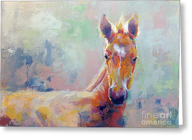 Race Horse Greeting Cards - Sprout Greeting Card by Kimberly Santini