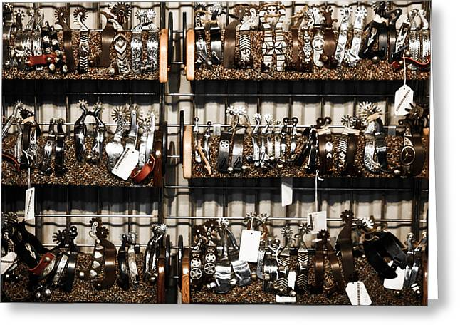 Metal Art Greeting Cards - Spurs Greeting Card by Marilyn Hunt