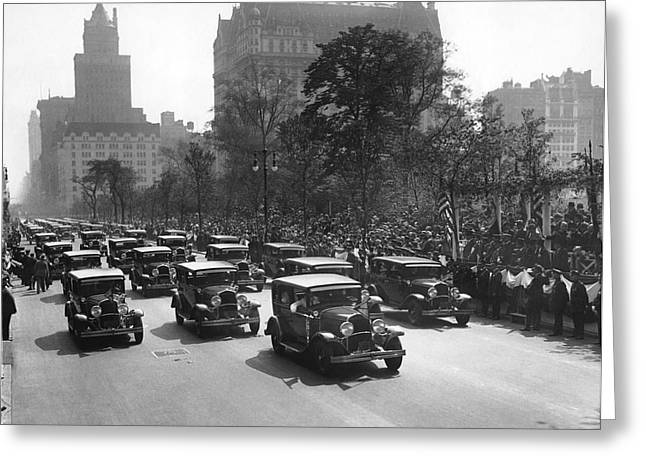 Squad Cars In Police Parade Greeting Card by Underwood Archives