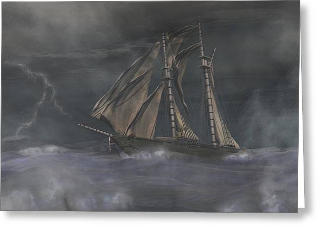 Schooner Digital Greeting Cards - Squall Greeting Card by Carol and Mike Werner