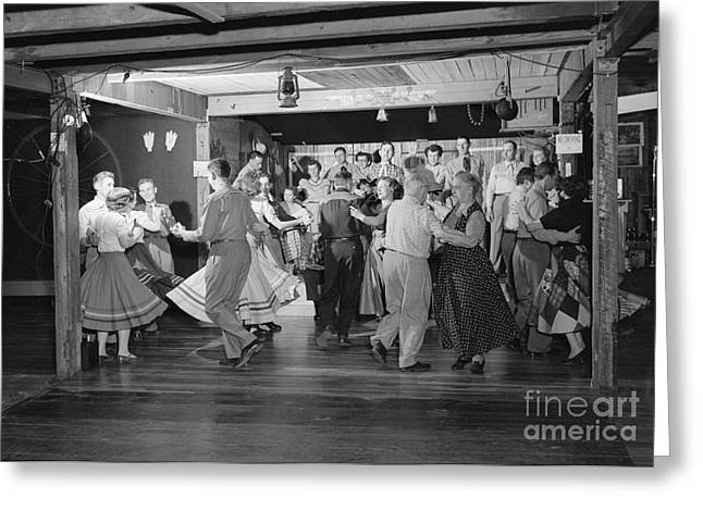 Barn Dance Greeting Cards - Square Dancing, C.1950s Greeting Card by H. Armstrong Roberts/ClassicStock