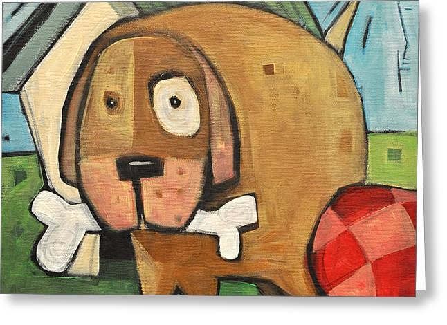 Doghouse Greeting Cards - Square Dog Greeting Card by Tim Nyberg