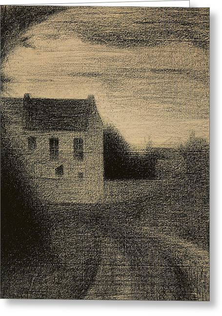 Charcoal Pastels Greeting Cards - Square House Greeting Card by Georges Pierre Seurat