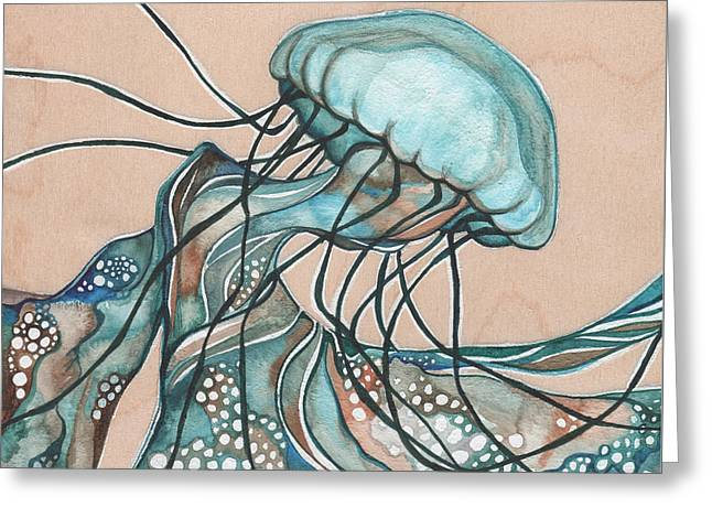 Jellyfish Greeting Cards - SQUARE Lucid Jellyfish on Wood Greeting Card by Tamara Phillips