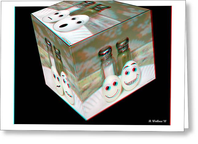 Eggheads Greeting Cards - Square Meal - Use Red-Cyan 3D glasses Greeting Card by Brian Wallace