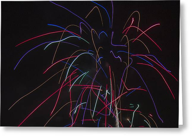 Independance Greeting Cards - Square Neon Fireworks Display Greeting Card by Chris Thomas