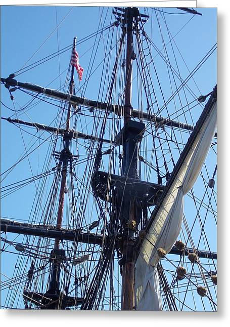 Lady Washington Greeting Cards - Square Rigging Greeting Card by Patti Walden