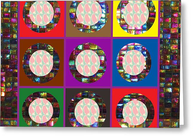 Fineartamerica Greeting Cards - Squares crystal stone marble tiled borders round circled mirrors abstract NavinJoshi FineArtAmerica  Greeting Card by Navin Joshi