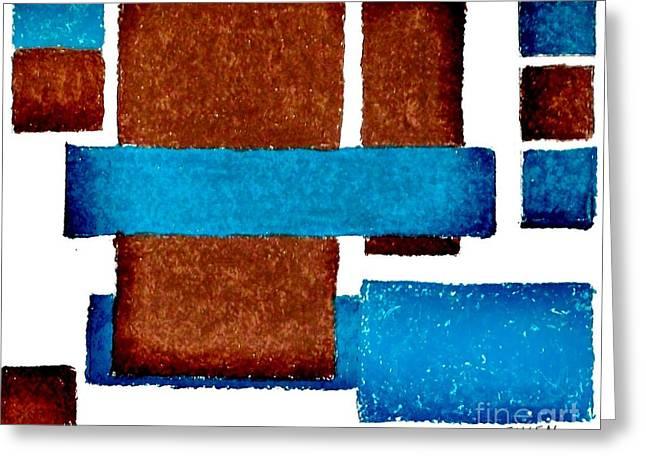 Squares Long And Short Greeting Card by Marsha Heiken