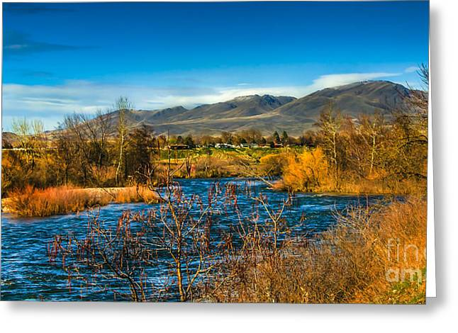 Beautiful Creek Greeting Cards - Squaw Butte and the Payette Greeting Card by Robert Bales