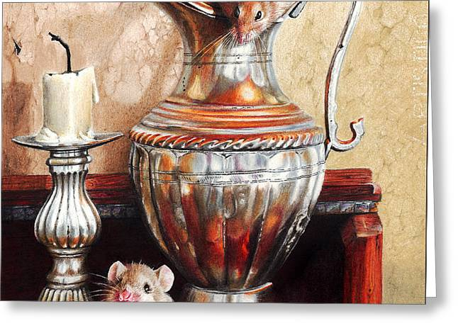 Candle Lit Greeting Cards - Squeaky Clean Greeting Card by Peter Williams