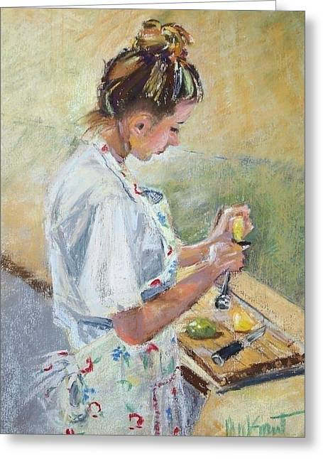 Apron Pastels Greeting Cards - Squeeze Greeting Card by Michelle Wells Grant