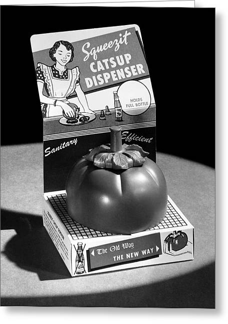 Squeezit Catsup Dispenser Greeting Card by Underwood Archives
