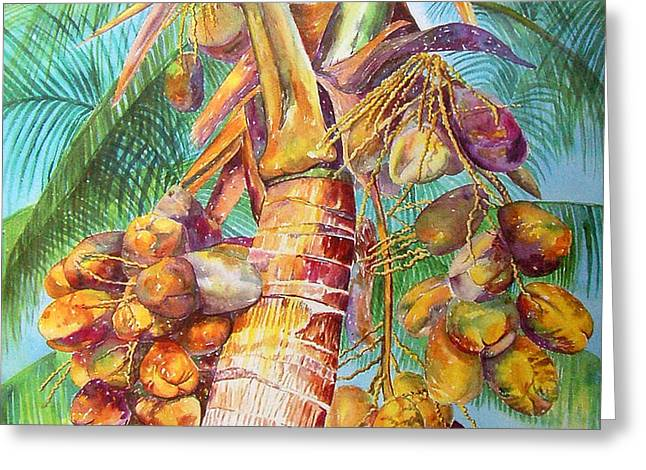 Squire's Coconuts Greeting Card by AnnaJo Vahle