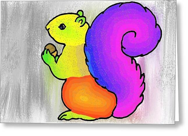 Sketchbook Digital Greeting Cards - Squirrel Greeting Card by Prasna Velcheru