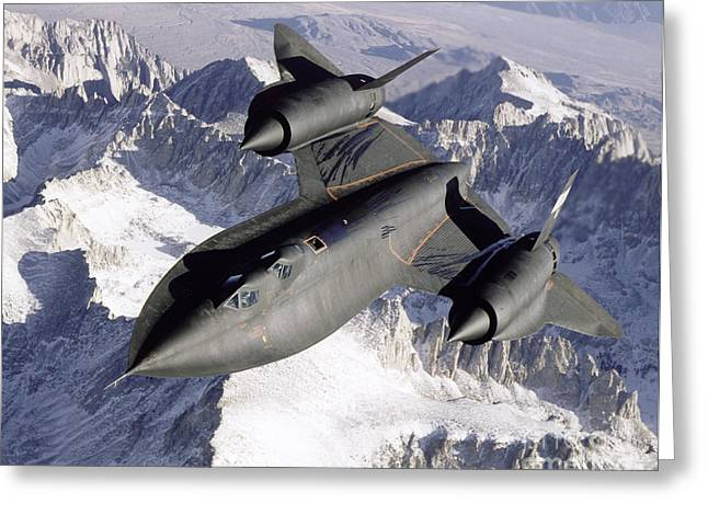 Aerial View Greeting Cards - Sr-71b Blackbird In Flight Greeting Card by Stocktrek Images