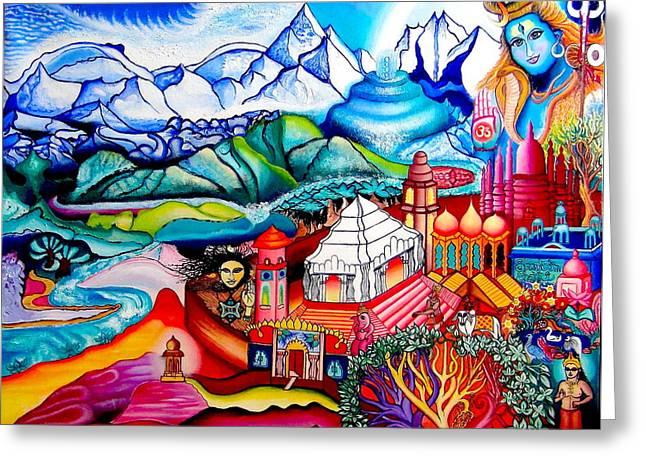Spirituality Tapestries - Textiles Greeting Cards - Sri Chidananda Rupa Greeting Card by Padmananda