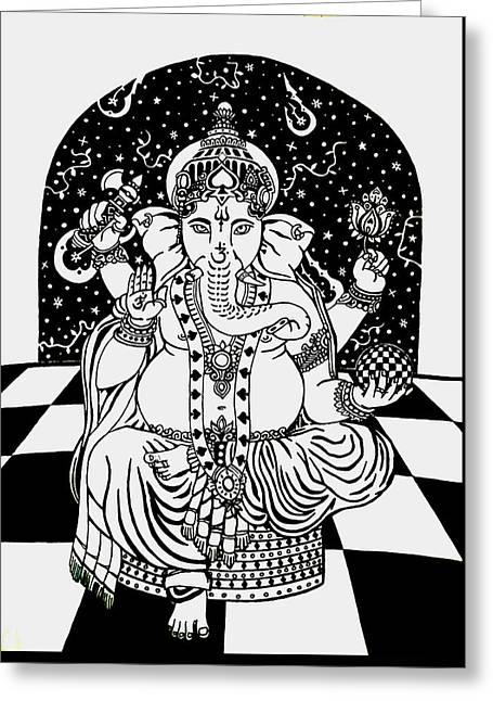 Pen Greeting Cards - Sri Ganesha Greeting Card by Red Gevhere