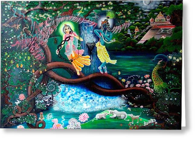 Spirituality Tapestries - Textiles Greeting Cards - Sri Murali Chori  Greeting Card by Padmananda