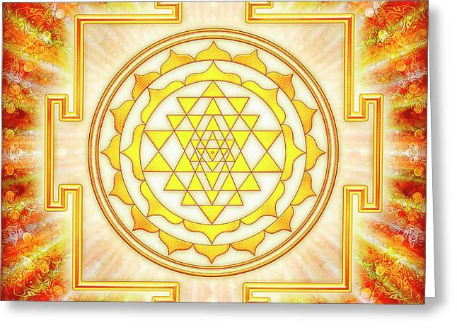 Sri Yantra - Artwork Light Greeting Card by Dirk Czarnota