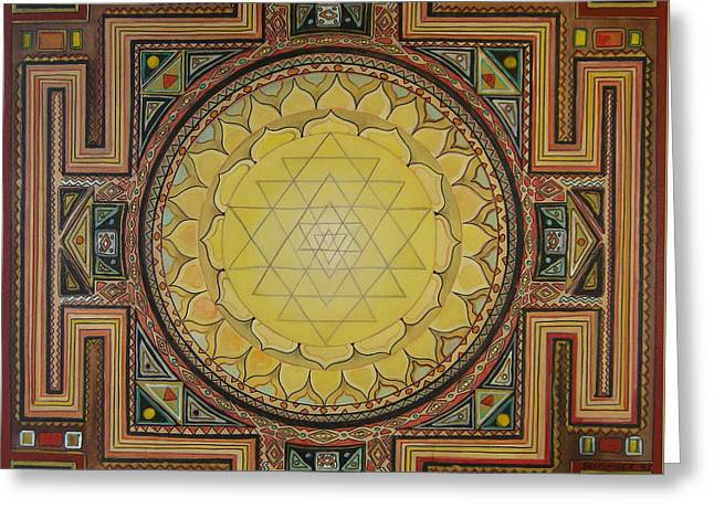 Sacred Greeting Cards - Sri Yantra Greeting Card by Karl Seitinger