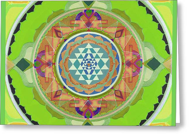 Petra Mixed Media Greeting Cards - Sri Yantra Magic Greeting Card by Sandra Pintaric