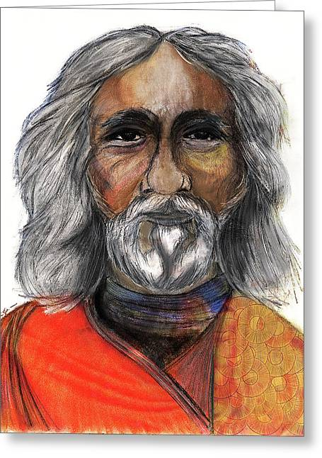 White Beard Pastels Greeting Cards - Sri Yukteswar Giri Greeting Card by Roger Hanson