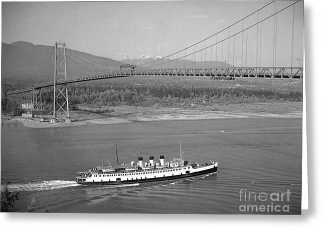 Lions Gate Bridge Paintings Greeting Cards - S.S. Princess Elaine under Lions Gate Bridge Greeting Card by MotionAge Designs