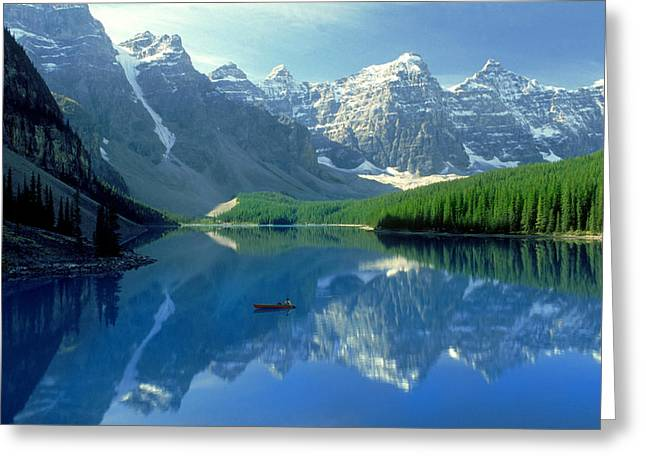 Best Sellers -  - Snow-covered Landscape Greeting Cards - S.short Canoeist, Moraine Lake, Ab, Fl Greeting Card by Steve Short