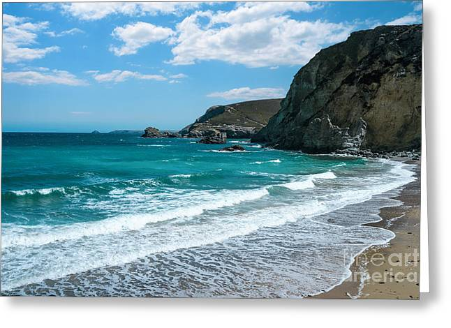 Lapping Greeting Cards - St Agnes Bay Cornwall Greeting Card by Amanda And Christopher Elwell