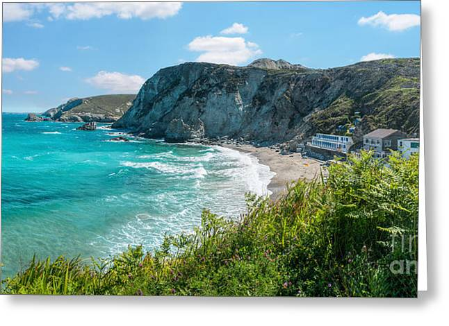 Panoramic Ocean Greeting Cards - St. Agnes Cornwall Panorama Greeting Card by Amanda And Christopher Elwell