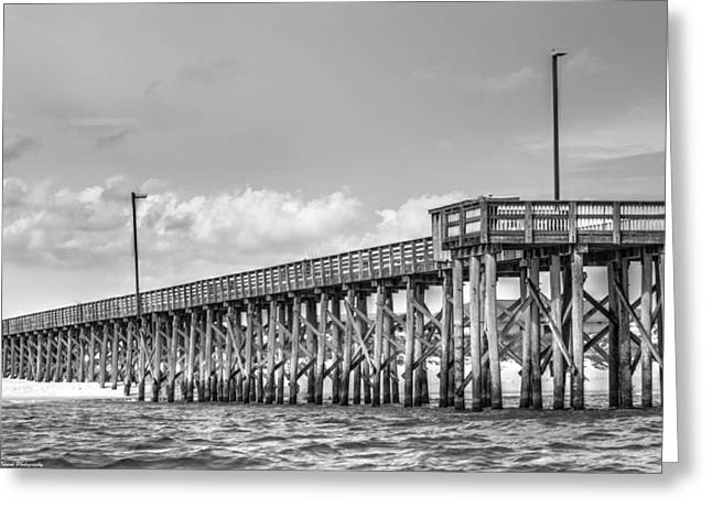 Panama City Beach Greeting Cards - St. Andrews Pier Panama City Beach BW  Greeting Card by Debra Forand