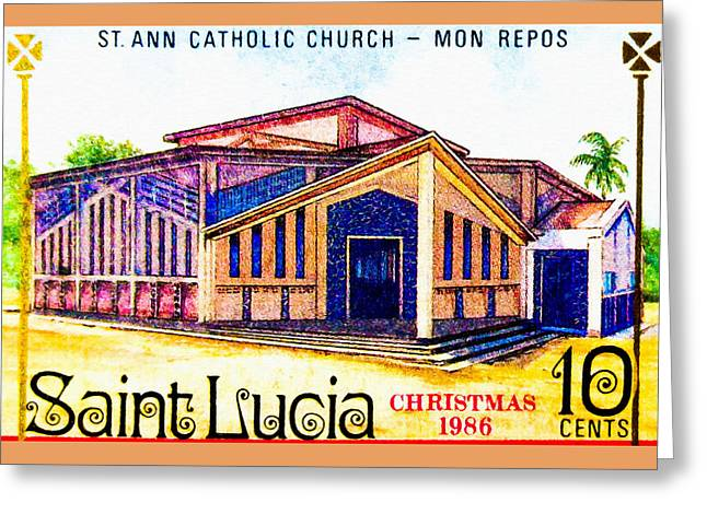 Religious Paintings Greeting Cards - St. Ann Catholic Church Greeting Card by Lanjee Chee