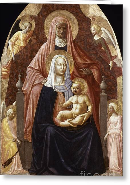 1420 Greeting Cards - St. Anne, Madonna & Child Greeting Card by Granger