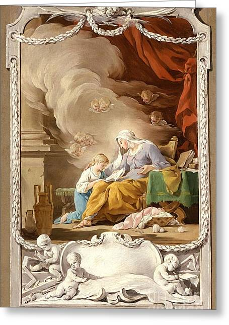 1711 Greeting Cards - St. Anne Revealing to the Virgin the Prophecy of Isaiah Greeting Card by MotionAge Designs