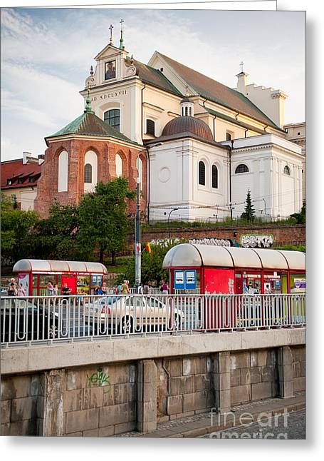 Old Street Greeting Cards - St Annes Church back view Greeting Card by Arletta Cwalina