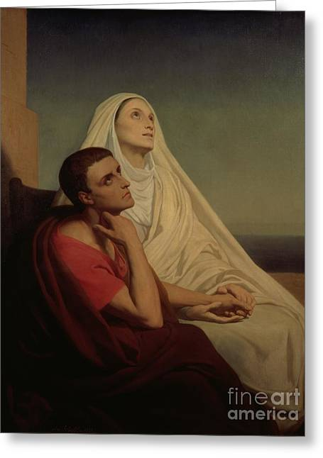 Praying Greeting Cards - St Augustine and his mother St Monica Greeting Card by Ary Scheffer