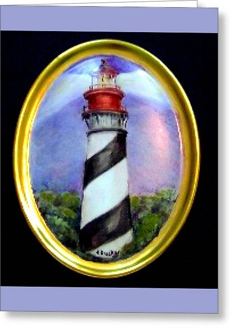 Lit Ceramics Greeting Cards - st Augustine Light House Greeting Card by Patricia Ducher