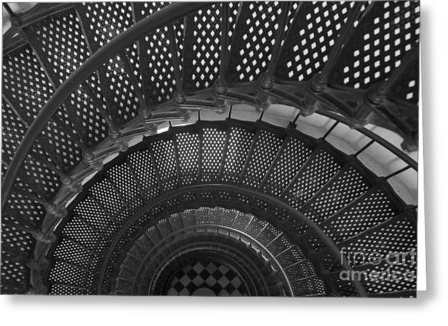 St. Augustine Lighthouse Spiral Staircase I Greeting Card by Clarence Holmes