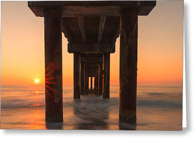 Ocean Panorama Greeting Cards - St Augustine Pier Greeting Card by Stefan Mazzola