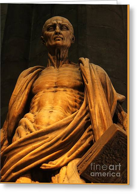 St. Bartholomew In Milan Cathedral By Marco D'agrate Greeting Card by Gregory Dyer